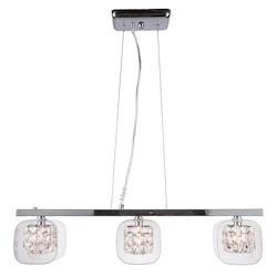 3 Light Pendant Light in Chrome Finish with Clear Glass and Clear Crystal Insets - 345734