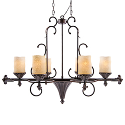 6 Light Island Bar Pendant Light in Bronze Finish with Aged Scavo Glass