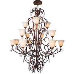 16 Light Crystal Chandelier Light in Bronze Finish with Crystal and Scavo Glass  - 345738