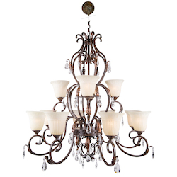 12 Light Crystal Chandelier Light in Bronze Finish with Crystals and Scavo Glass - 345740