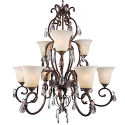 9 Light Crystal Chandelier Light in Bronze Finish with Crystals and Scavo Glass  - 345741