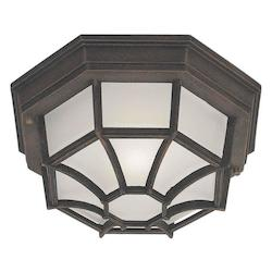 One Light Painted Rust Satin White Glass Outdoor Flush Mount - Forte 17005-01-28