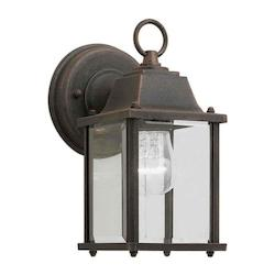 Open Box One Light Painted Rust Clear Beveled  Panels Glass Wall Lantern