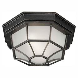 One Light Bordeaux Satin White Glass Outdoor Flush Mount - Forte 17005-01-64