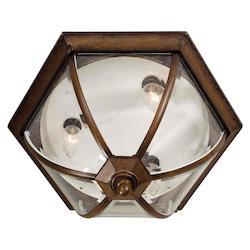 Three Light Rustic Sienna Clear Beveled  Panels Glass Outdoor Flush Mount - Forte 1720-03-41