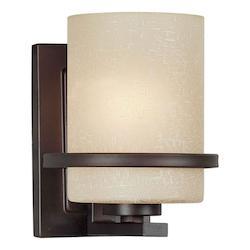 One Light Antique Bronze Umber Linen Glass Wall Light - Forte 2404-01-32
