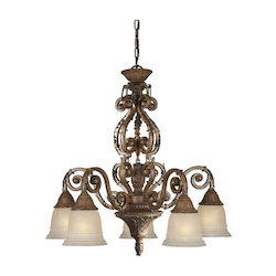 Five Light Rustic Sienna Mica Flake Glass Down Chandelier - Forte 2153-05-41