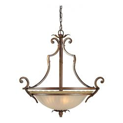 Four Light Rustic Sienna Shaded Umber Glass Up Pendant - Forte 2154-04-41