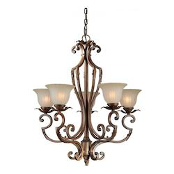 Five Light Rustic Sienna Shaded Umber Glass Up Chandelier - Forte 2154-05-41