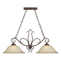 Two Light Rustic Spice Umber Sand Glass Island Light - Forte 2316-02-21