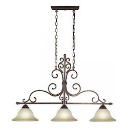 Three Light Black Cherry Shaded Umber Glass Pool Table Light - Forte 2327-03-27
