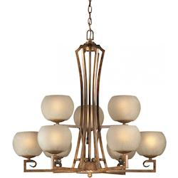 Nine Light Rustic Sienna Umber Linen Glass Up Chandelier - Forte 2373-09-41