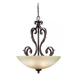 Four Light Black Cherry Umber Mist Glass Up Pendant - Forte 2375-04-27