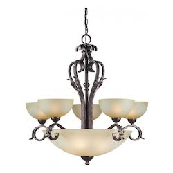 Nine Light Black Cherry Umber Mist Glass Up Chandelier - Forte 2375-09-27
