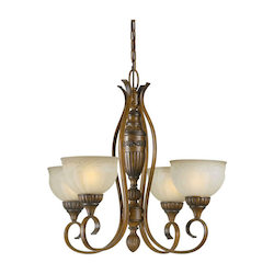 Four Light Rustic Sienna Patterned Shaded Umber Glass Up Chandelier - Forte 2380-04-41