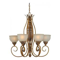 Six Light Rustic Sienna Patterned Shaded Umber Glass Up Chandelier - Forte 2380-06-41