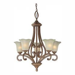 Five Light Rustic Sienna Shaded Umber Glass Up Chandelier - Forte 2387-05-41