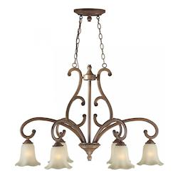Six Light Rustic Sienna Shaded Umber Glass Down Chandelier - Forte 2387-06-41