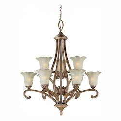 Nine Light Rustic Sienna Shaded Umber Glass Up Chandelier - Forte 2387-09-41
