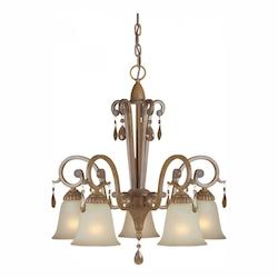 Five Light Rustic Sienna Shaded Umber Glass Down Chandelier - Forte 2390-05-41