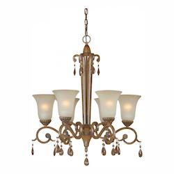 Six Light Rustic Sienna Shaded Umber Glass Up Chandelier - Forte 2390-06-41