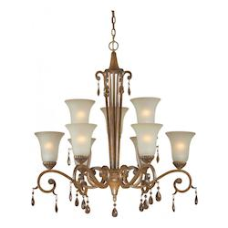 Nine Light Rustic Sienna Shaded Umber Glass Up Chandelier - Forte 2390-09-41
