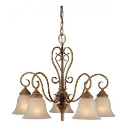 Five Light Chestnut Mica Flake Glass Down Chandelier - Forte 2391-05-17