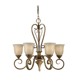 Six Light Chestnut Mica Flake Glass Up Chandelier - Forte 2391-06-17
