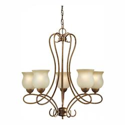 Five Light Chestnut Shaded Umber Glass Up Chandelier - Forte 2393-05-17