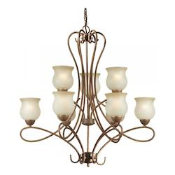 Nine Light Chestnut Shaded Umber Glass Up Chandelier - Forte 2393-09-17