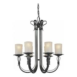 Six Light Natural Iron Shaded Umber Glass Candle Chandelier - Forte 2396-06-11