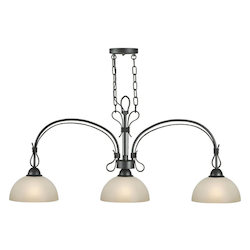 Three Light Natural Iron Island Light - Forte 2398-03-11
