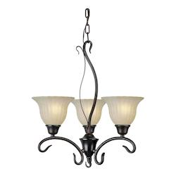 Three Light Antique Bronze Mica Flake Glass Up Chandelier - Forte 2400-03-32