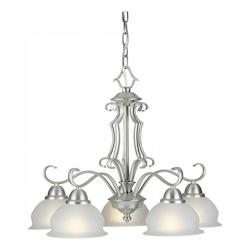 Five Light Brushed Nickel White Linen Glass Down Chandelier - Forte 2408-05-55