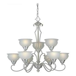 Nine Light Brushed Nickel White Linen Glass Up Chandelier - Forte 2408-09-55