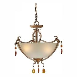 Three Light Rustic Sienna Shaded Umber Glass Up Pendant - Forte 2409-03-41