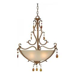Four Light Rustic Sienna Shaded Umber Glass Up Pendant - Forte 2409-04-41