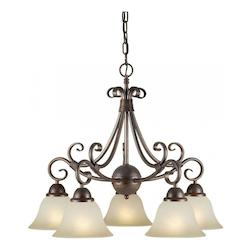 Five Light Black Cherry Shaded Umber Glass Down Chandelier - Forte 2417-05-27