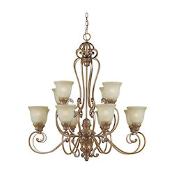 Twelve Light Rustic Sienna Umber Mist Glass Up Chandelier - Forte 2419-12-41