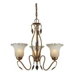 Three Light Rustic Sienna Umber Ice Glass Up Chandelier - Forte 2420-03-41