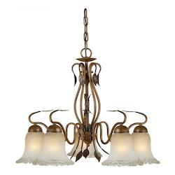 Five Light Rustic Sienna Umber Ice Glass Down Chandelier - Forte 2420-05-41