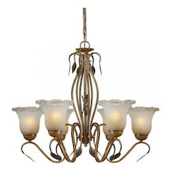 Six Light Rustic Sienna Umber Ice Glass Up Chandelier - Forte 2420-06-41