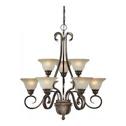Nine Light Black Cherry Shaded Umber Glass Up Chandelier - Forte 2426-09-27
