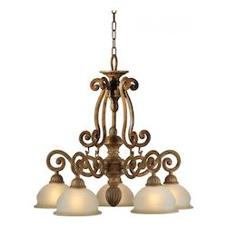 Five Light Chestnut Shaded Umber Glass Down Chandelier - Forte 2433-05-17