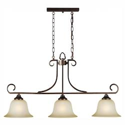 Three Light Antique Bronze Umber Mist Glass Pool Table Light - Forte 2440-03-32