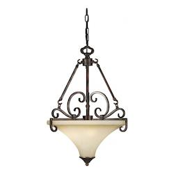 Three Light Antique Bronze Umber Mist Glass Up Pendant - Forte 2458-03-32