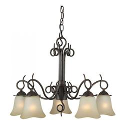 Five Light Antique Bronze Shaded Umber Glass Down Chandelier - Forte 2463-05-32