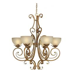 Six Light Rustic Sienna Shaded Umber Glass Up Chandelier - Forte 2478-06-41