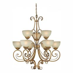 Nine Light Rustic Sienna Shaded Umber Glass Up Chandelier - Forte 2478-09-41