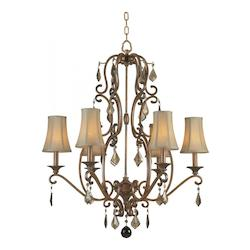 Six Light Rustic Sienna Up Chandelier - Forte 2484-06-41
